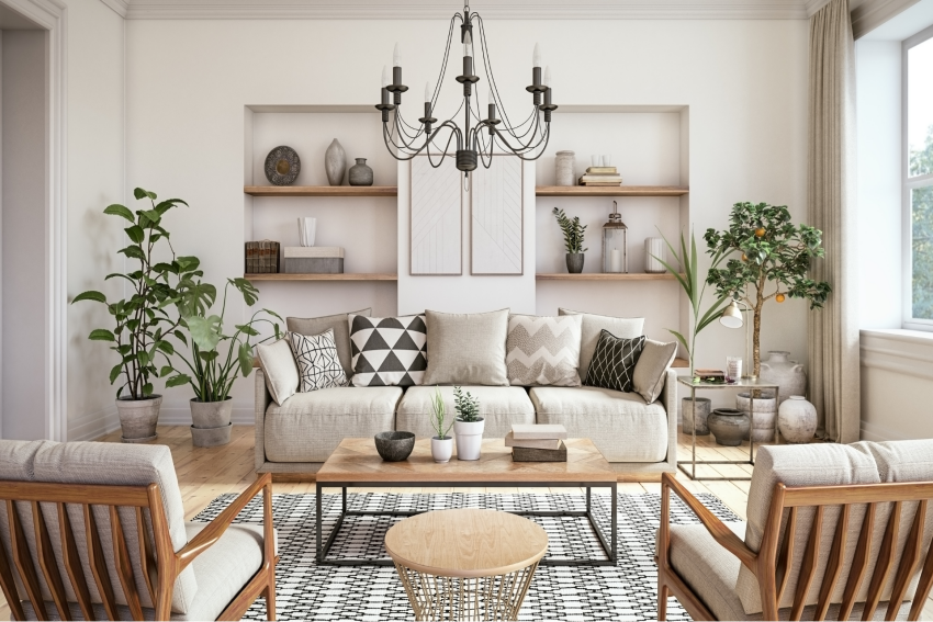 interieur salon design bois et plantes